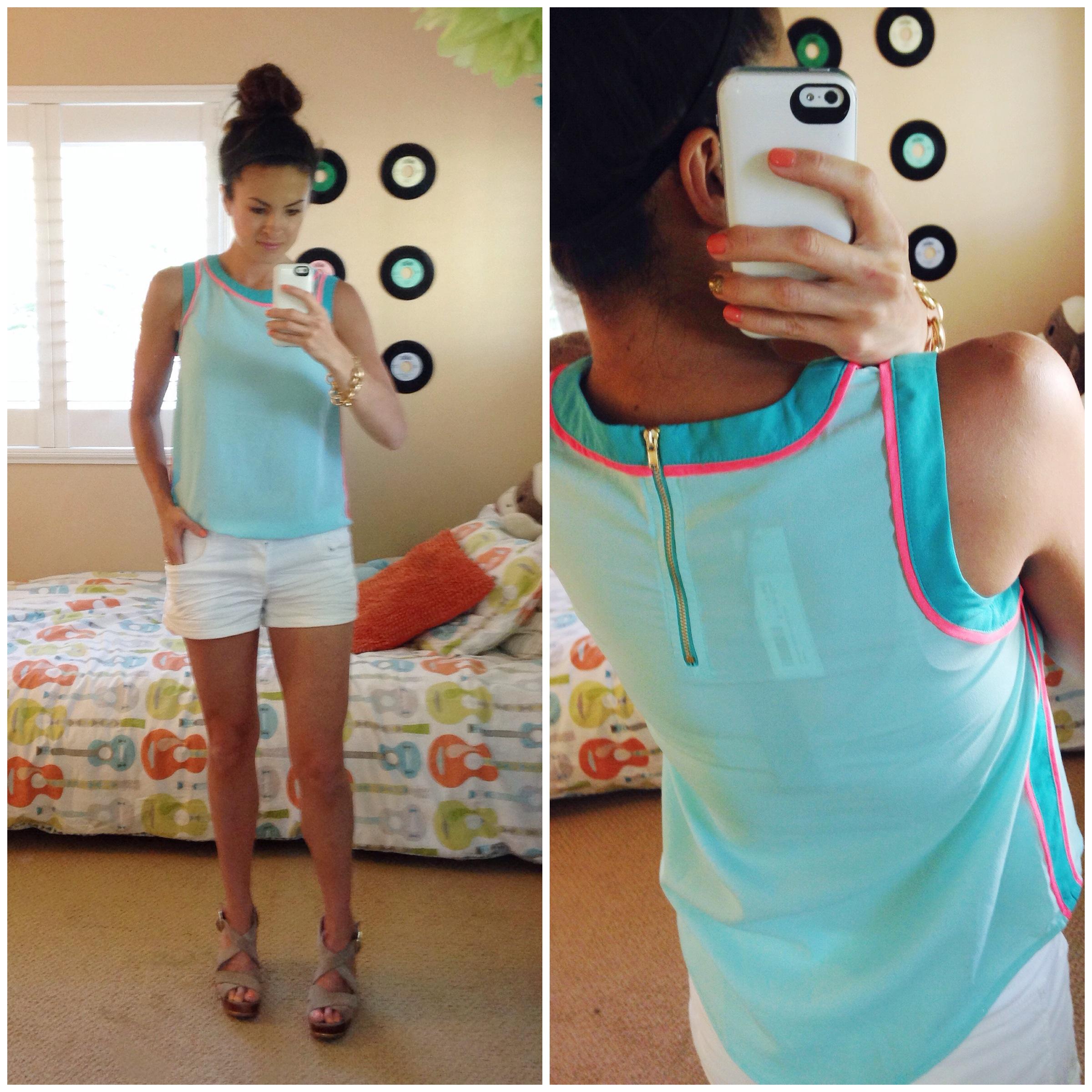 Nina Back-Zip Colorblock Blouse